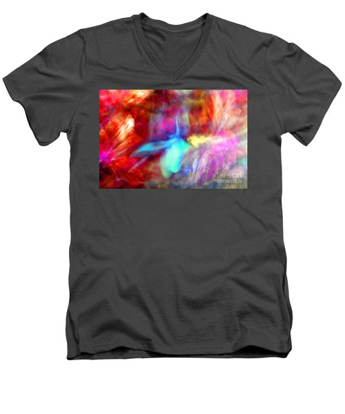 Falling Petal Abstract Red Magenta And Blue B Men's V-Neck T-Shirt by Heather Kirk