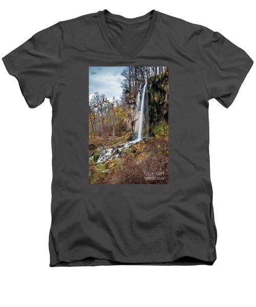 Falling Springs Fall Men's V-Neck T-Shirt by Debbie Green