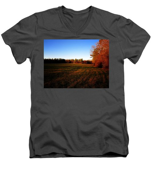 Men's V-Neck T-Shirt featuring the photograph Fallow Field by Greg Simmons