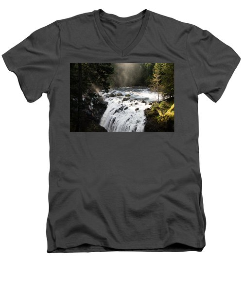 Waterfall Magic Men's V-Neck T-Shirt by Marilyn Wilson