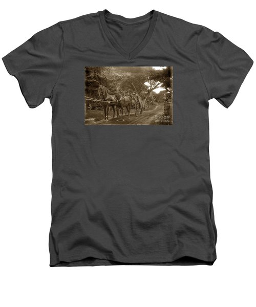 Family Out Carriage Ride On The 17 Mile Drive In Pebble Beach Circa 1895 Men's V-Neck T-Shirt by California Views Mr Pat Hathaway Archives