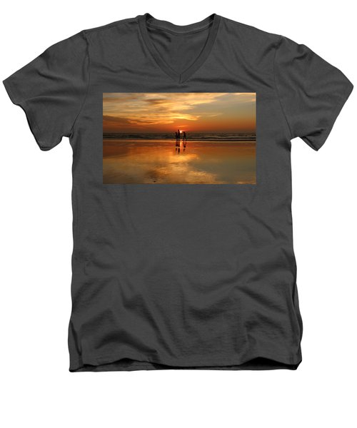 Family Reflections At Sunset -3  Men's V-Neck T-Shirt