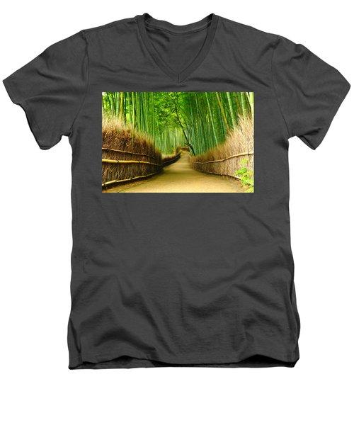 Famous Bamboo Grove At Arashiyama Men's V-Neck T-Shirt by Lanjee Chee