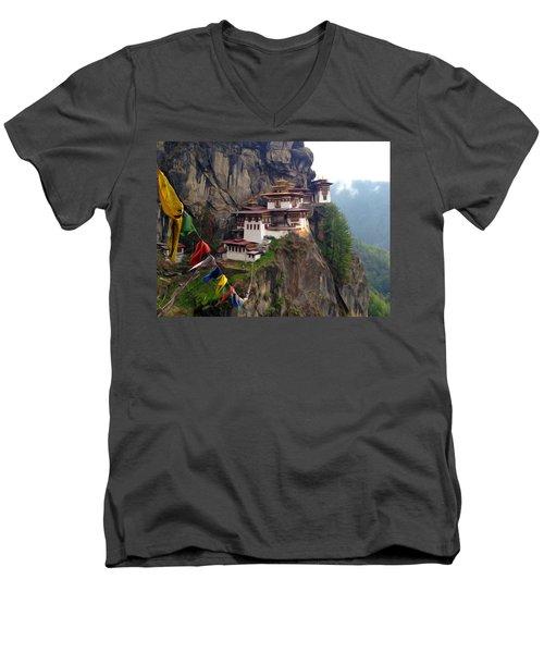 Famous Tigers Nest Monastery Of Bhutan 10 Men's V-Neck T-Shirt