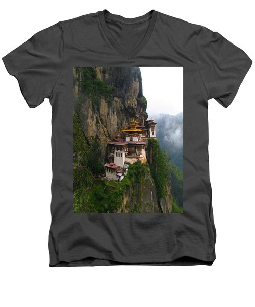 Famous Tigers Nest Monastery Of Bhutan Men's V-Neck T-Shirt by Lanjee Chee