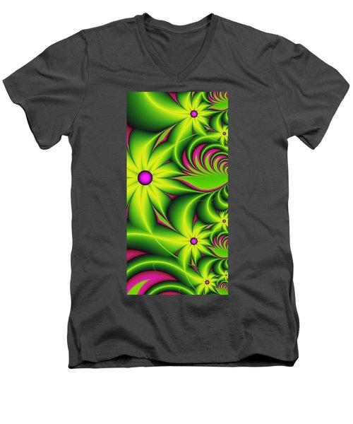 Men's V-Neck T-Shirt featuring the digital art Fantasy Flowers by Gabiw Art