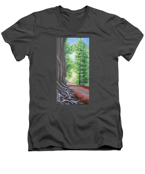 Men's V-Neck T-Shirt featuring the painting Faraway by Jane  See