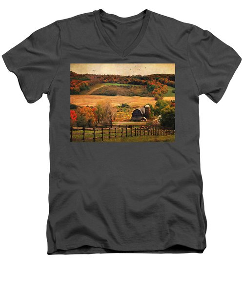 Farm Country Autumn - Sheldon Ny Men's V-Neck T-Shirt by Lianne Schneider
