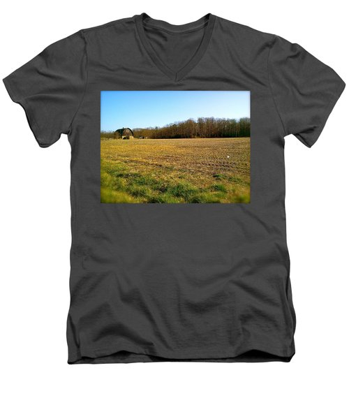 Farm Field With Old Barn Men's V-Neck T-Shirt by Amazing Photographs AKA Christian Wilson