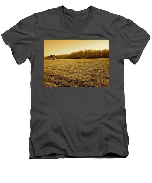 Men's V-Neck T-Shirt featuring the photograph Farm Field With Old Barn In Sepia by Amazing Photographs AKA Christian Wilson