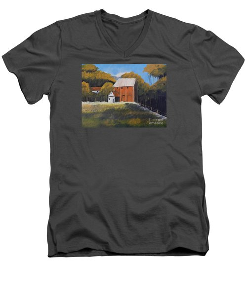 Men's V-Neck T-Shirt featuring the painting Farm With Red Barn by Pamela  Meredith