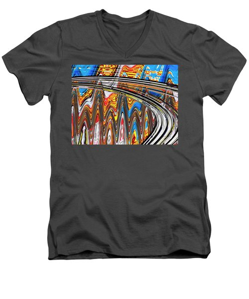 Men's V-Neck T-Shirt featuring the digital art Highway To Nowhere Abstract by Gabriella Weninger - David