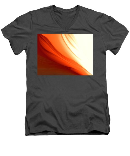 Men's V-Neck T-Shirt featuring the digital art Glowing Orange Abstract by Gabriella Weninger - David