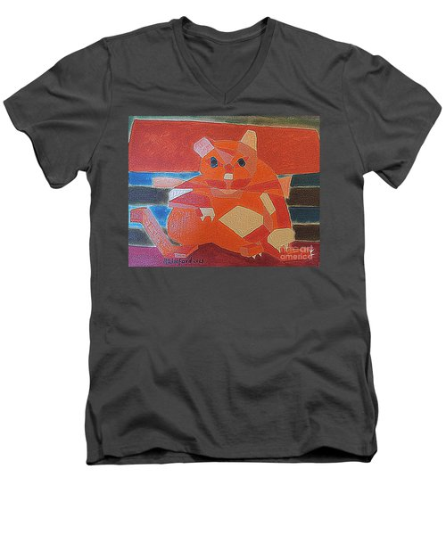 Men's V-Neck T-Shirt featuring the painting Fat Cat On A Hot Chaise Lounge by Richard W Linford