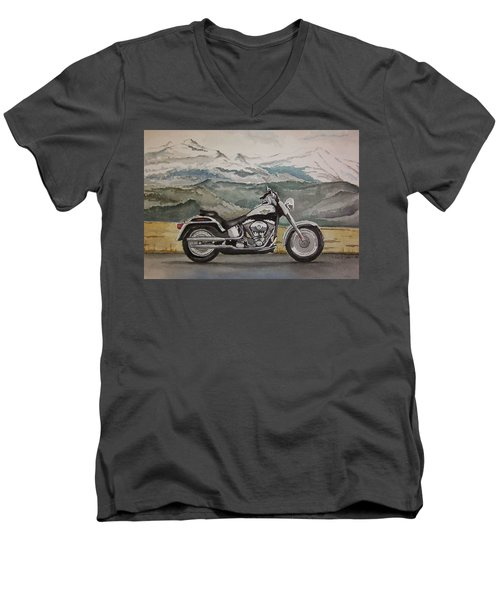 Men's V-Neck T-Shirt featuring the painting Fatboy by Rachel Hames