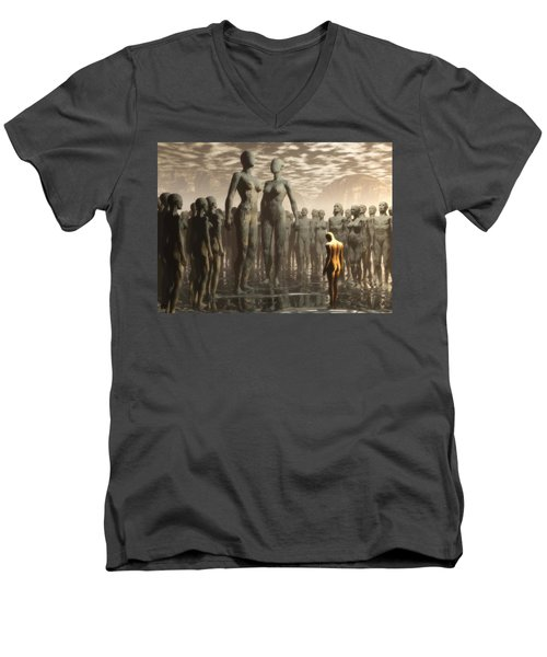 Fate Of The Dreamer Men's V-Neck T-Shirt by John Alexander