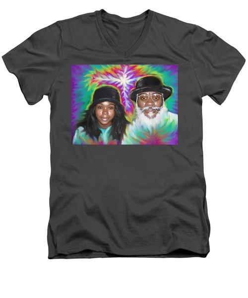 Father And Daughter Spirit Ministry  Men's V-Neck T-Shirt by Hidden  Mountain