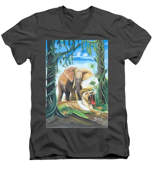 Men's V-Neck T-Shirt featuring the painting Faune D'afrique Centrale 01 by Emmanuel Baliyanga
