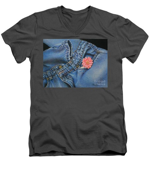 Men's V-Neck T-Shirt featuring the painting Favorite Jeans by Pamela Clements