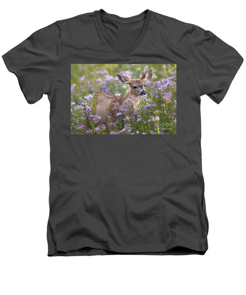 Fawn In Asters Men's V-Neck T-Shirt by Sonya Lang