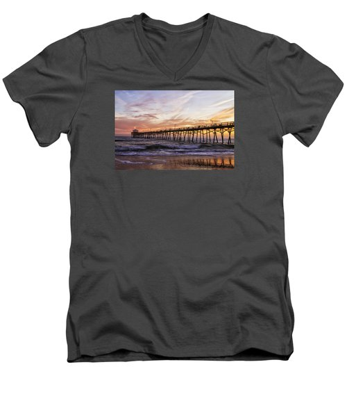 Men's V-Neck T-Shirt featuring the photograph Febuary Sunset On Atlantic Beach by Bob Decker