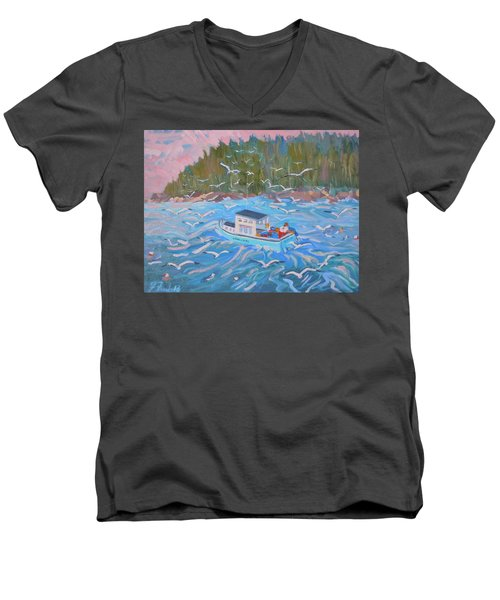 Men's V-Neck T-Shirt featuring the painting Feeding The Flock by Francine Frank