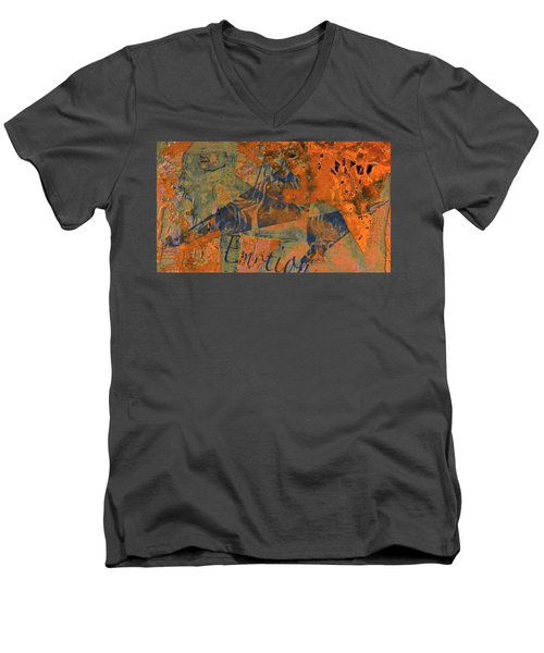 Feel Emotion Orange And Green Men's V-Neck T-Shirt by Deprise Brescia