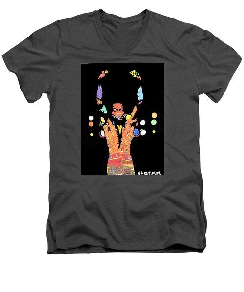 Fela Kuti Men's V-Neck T-Shirt by Stormm Bradshaw