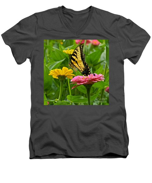 Female Tiger Swallowtail Butterfly With Pink And Yellow Zinnias Men's V-Neck T-Shirt