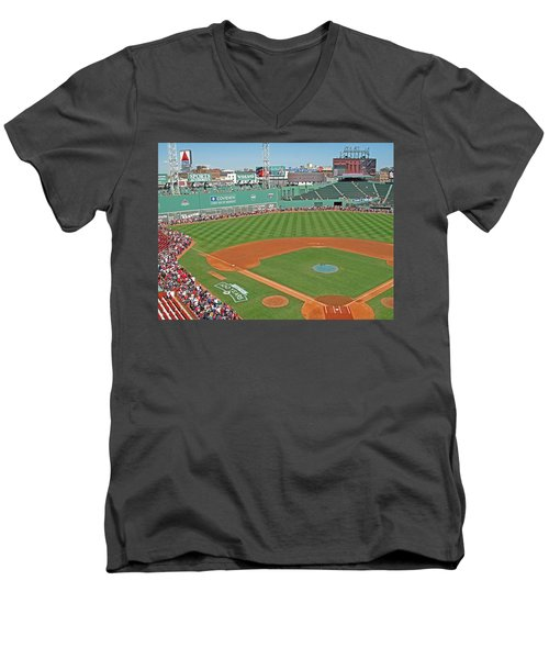 Men's V-Neck T-Shirt featuring the photograph Fenway One Hundred Years by Barbara McDevitt
