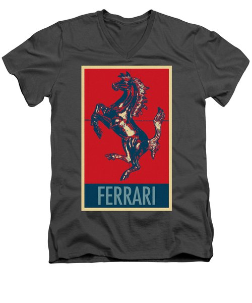 Ferrari Stallion In Hope Men's V-Neck T-Shirt