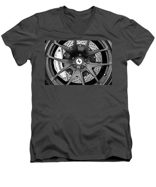 Ferrari Wheel Emblem - Brake Emblem -0430bw Men's V-Neck T-Shirt