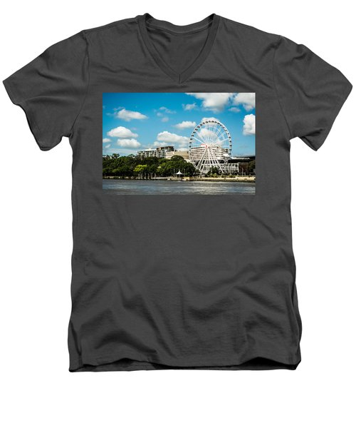 Ferris Wheel On The Brisbane River Men's V-Neck T-Shirt