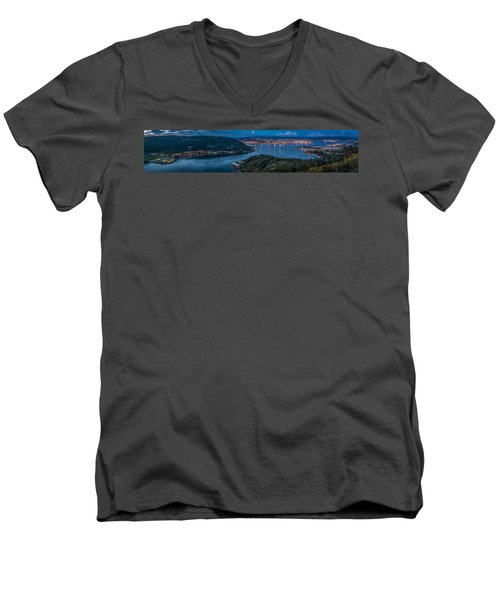 Men's V-Neck T-Shirt featuring the photograph Ferrol's Estuary Panorama From La Bailadora Galicia Spain by Pablo Avanzini