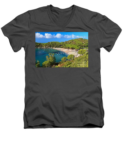 Fetovaia Beach - Elba Island Men's V-Neck T-Shirt