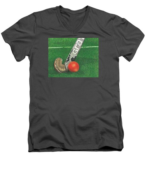 Field Hockey Men's V-Neck T-Shirt by Troy Levesque