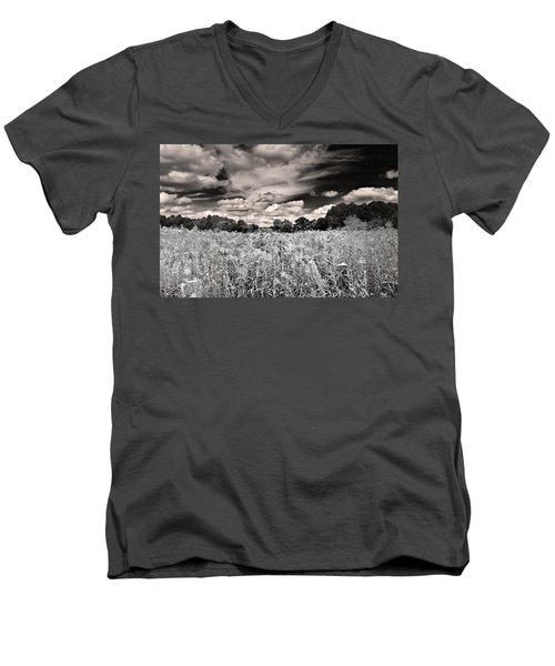 Men's V-Neck T-Shirt featuring the photograph Fields Of Gold And Clouds by Mitchell R Grosky