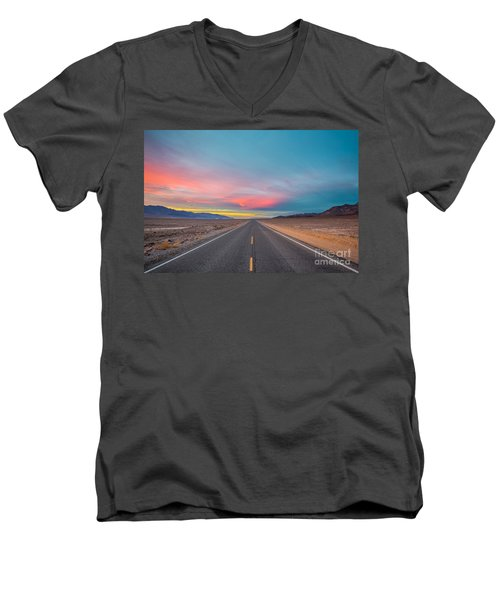 Fiery Road Though The Valley Of Death Men's V-Neck T-Shirt