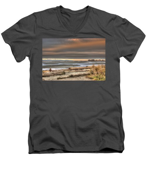 Fiery Sky Over The Salish Sea Men's V-Neck T-Shirt