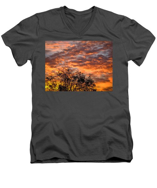 Fiery Sunrise Over County Clare Men's V-Neck T-Shirt