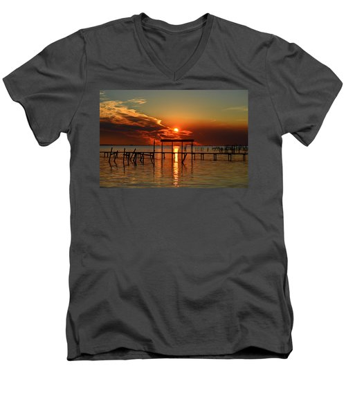 Fiery Sunset Colors Over Santa Rosa Sound Men's V-Neck T-Shirt by Jeff at JSJ Photography