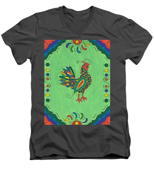 Fiesta Rooster Men's V-Neck T-Shirt by Susie Weber