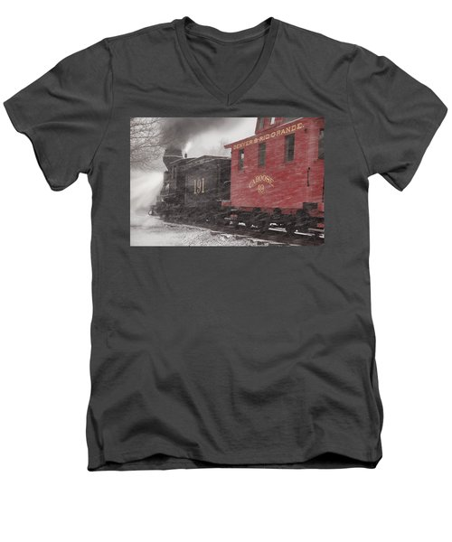 Fighting Through The Winter Storm Men's V-Neck T-Shirt
