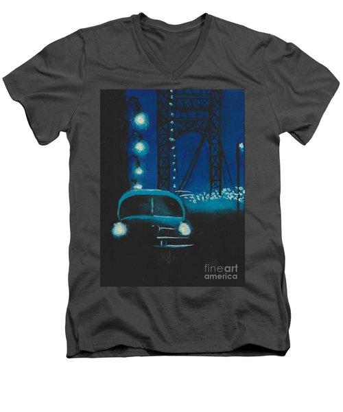 Film Noir In Blue #1 Men's V-Neck T-Shirt