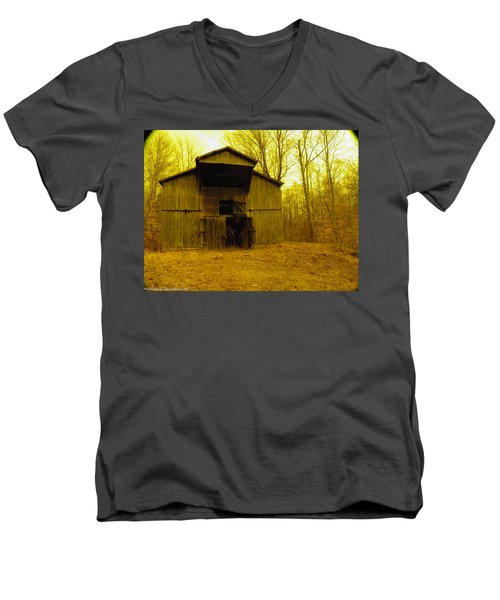 Men's V-Neck T-Shirt featuring the photograph Filtered Barn by Nick Kirby