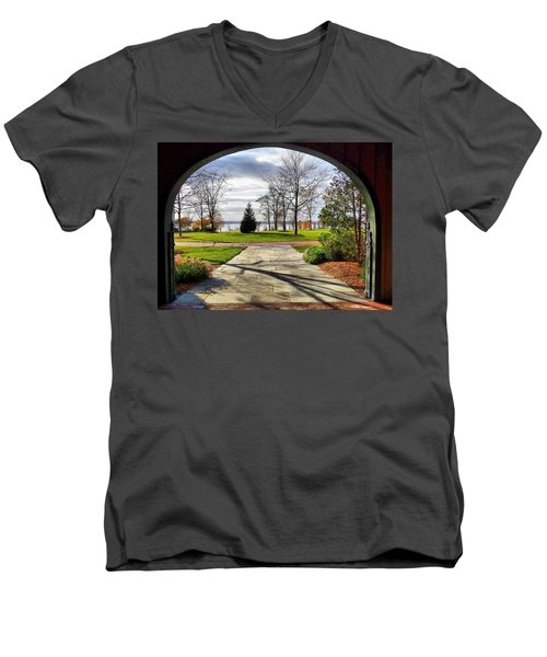 Men's V-Neck T-Shirt featuring the photograph Finger Lakes View From Mackenzie Childs  by Mitchell R Grosky