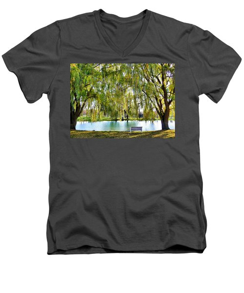 Men's V-Neck T-Shirt featuring the photograph Finger Lakes Weeping Willows by Mitchell R Grosky