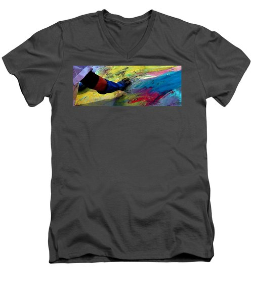 Men's V-Neck T-Shirt featuring the painting Fingerpainting by Lisa Kaiser