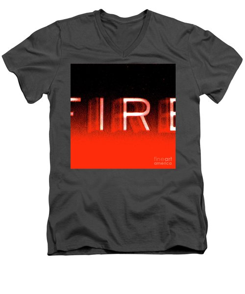 Fire Men's V-Neck T-Shirt by CML Brown