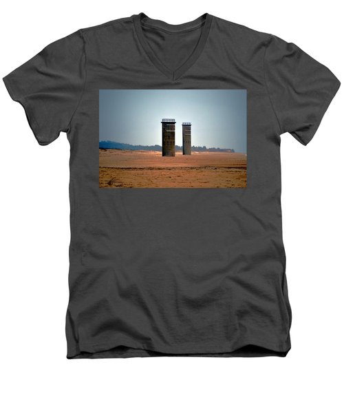 Fct5 And Fct6 Fire Control Towers On The Beach Men's V-Neck T-Shirt